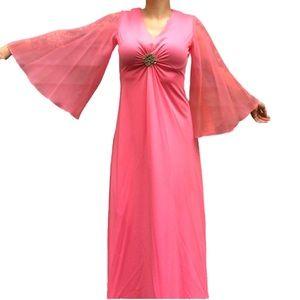 Vintage 1960s / 70s Pink Flare Sleeve Maxj Dress